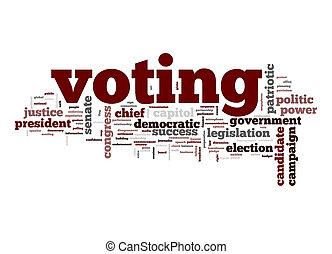 votación, palabra, nube