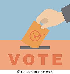 votación, poniendo, mano