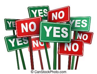 votación, sí, o, no