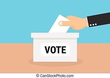 votando, conceito, em, apartamento, estilo, vetorial, eps10