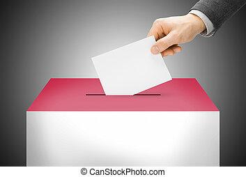 votando, conceito, -, urna, pintado, em, bandeira nacional, cores, -, monaco