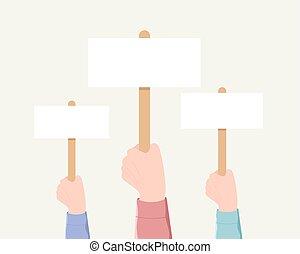 votando, demonstração, minting, concept.