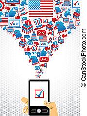 votando, eleições, eua, online