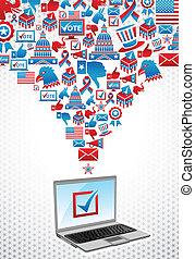 votando, eletrônico, eleições, eua