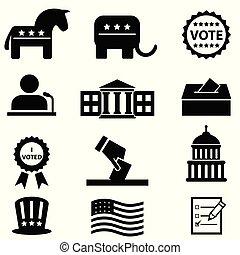 votando, jogo, eleição, ícone