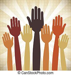 votando, mãos, design.