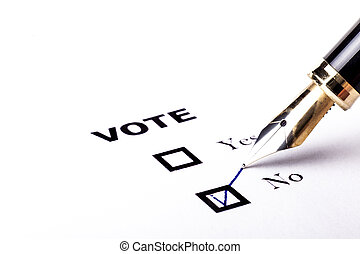 votando, não