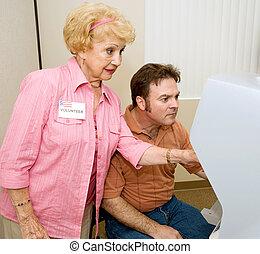 votando, série, -, ajuda, com, máquina