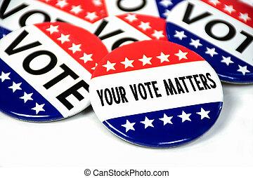 vote, élection, collection, épingle