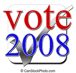 Vote 2008 illustration in the colors of the USA