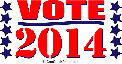 Vote 2014 red, white, and blue illustration
