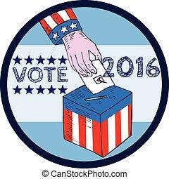 Vote 2016 Hand Ballot Box Circle Etching