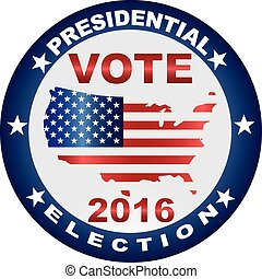 Vote Presidential Election 2016 with USA Flag in Map Silhouette Button Illustration
