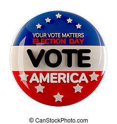 vote 2020 America button icon 3d-illustration