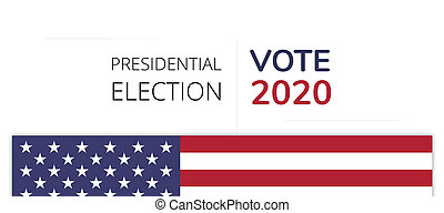 vote 2020 America flag text isolated on white 3d-illustration