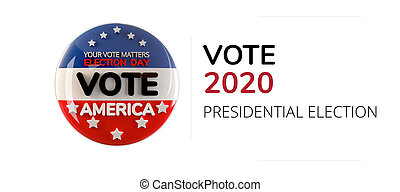 vote 2020 America symbol icon isolated on white 3d-illustration