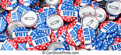 vote 2020 election badge background, vote USA 2020, 3D illustration, 3D rendering