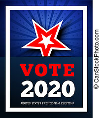 Vote 2020 in USA. illustraion background with star