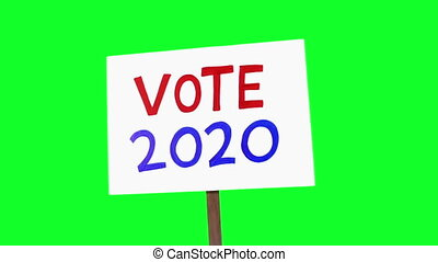 Vote 2020 Sign Held Up Green Screen 3 Shots - 2020 American ...