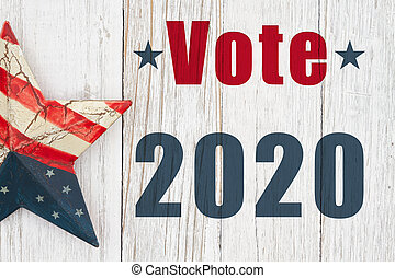 Vote 2020 type message with a retro USA star