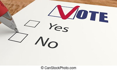 Vote against by marks cross X in poll, ballot voting and ...