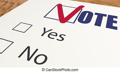 Vote against - marks tick in ballot vote, ballot voting and ...