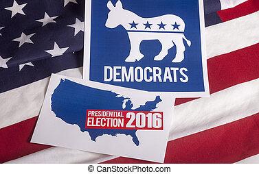 vote, américain, élection, démocrate, drapeau