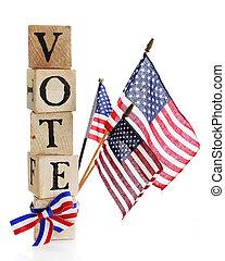 Vote, America. - A stack of rustic alphabet blocks arranged ...