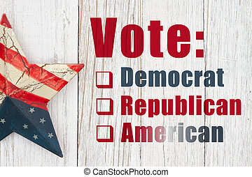 Vote American type message with a retro USA star