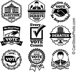 Vote and election labels. Vector set.