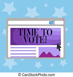 vote., avanti, affari, foto, esposizione, tempo, un po', scrittura, testo, scegliere, fra, concettuale, candidati, govern., mano, elezione