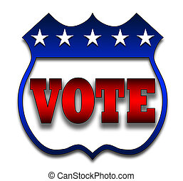 Vote Badge - Red White and Blue voting illustration