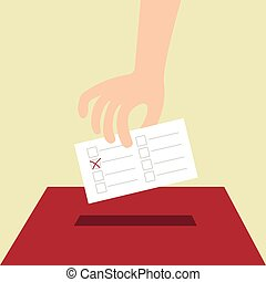 Vote ballot with box. Vector