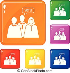 Vote banner icons set vector color