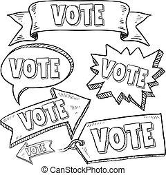 vote, bannières, élection, étiquettes