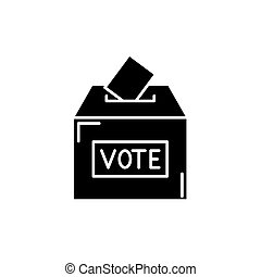 Vote black icon, vector sign on isolated background. Vote concept symbol, illustration