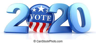 vote, blanc, rouges, text., bleu, vote, 2020, render., épingle, 2020., 3d