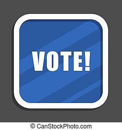 Vote blue flat design square web icon