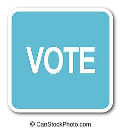 vote blue square internet flat design icon