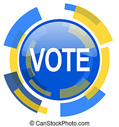 vote blue yellow glossy web icon