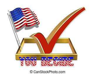 vote, boîte, chèque, 3d