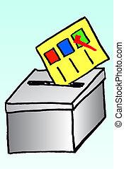 vote, boîte, dessiner, main, croquis