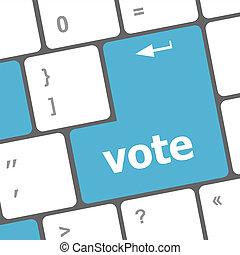 vote, bouton, clef informatique, clavier