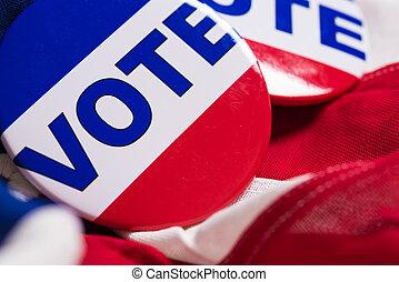 """""""vote"""", bouton, ou, épingle, sur, une, drapeau américain"""