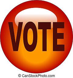vote, bouton, ou, icône