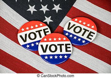 vote, boutons, drapeau américain