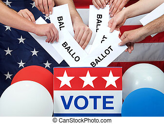 hands placing ballots in a voting box, American flag in background. Anyone over the age of 18 on election day and a citizen of the United States is eligible to vote. Voter turnout fluctuates in the US
