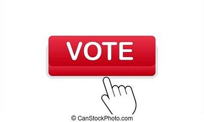 Vote button. Hand click icon. Finger click icon. stock illustration