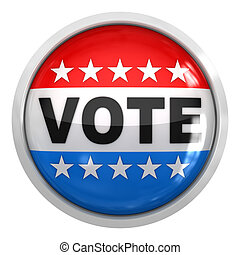 Vote button , isolated on white.