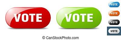 vote button. key. sign. push button set